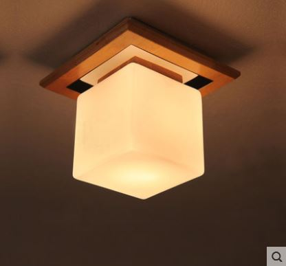 цена Japanese-style LED creative ceiling lamp simple Chinese aisle balcony porch square solid wood lamps
