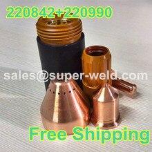 220842 électrode 40 pièces + 220990 buse 40 pièces 105A, 80 pièces par lot Plasma consommable pour 105A Plasma coupe