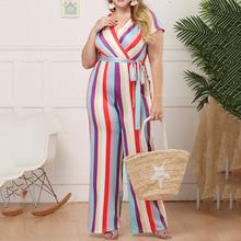 Boho Sexy Purple Travel Beach Plus Size Elegant Jumpsuit Women Casual Loose Thin Straight Stripe Print Lace Up Female Rompers(China)