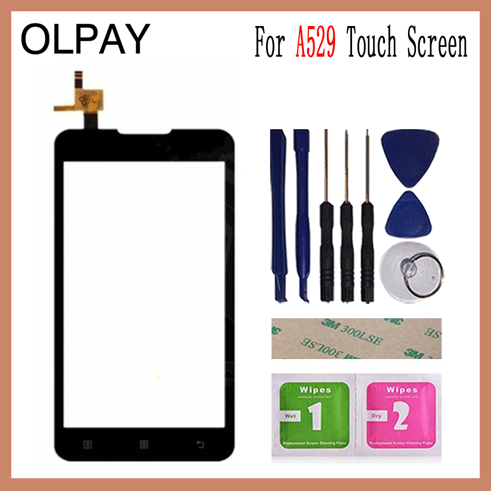 OLPAY 5.0'' Touch Panel For Lenovo A529 A 529 Touch Screen Glass Digitizer Panel Lens Sensor Glass Free Adhesive And Wipes