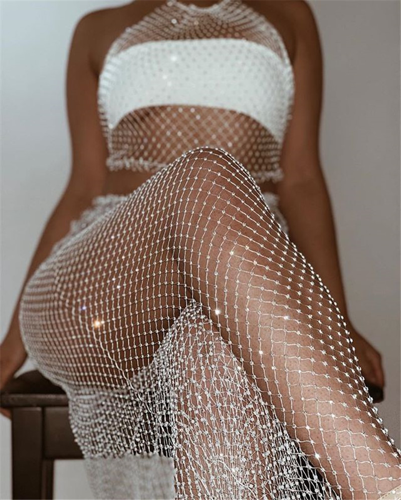 Sexy Bling diamond Summer bodysuit women beach perspective Two piece Mesh Hollow Sparkling body mujer Night club party jumpsuit