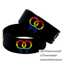 Multi Shaded Black LGBT Soft Silicone Eye Catching Bracelet