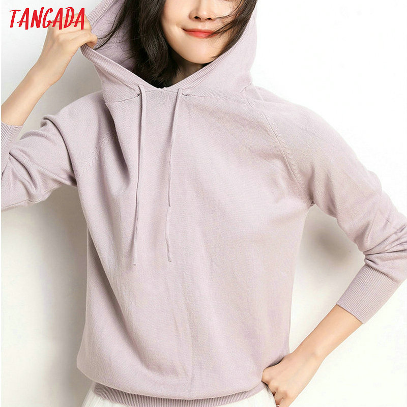 Tangada fashion woman solid hooded sweater female long sleeve korean chic soft jumpers sweater ladies pull femme AQJ01 12