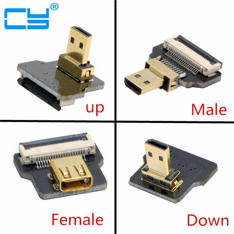 """FPV """"Micro HDMI"""" D tipas Moteriškas lizdas ir vyriškas-tiesus ir vyriškas-aukštyn ir vyriškas žemyn kampas 90 laipsnių jungtis FPV fotografijai"""