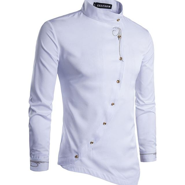 2018 Ouma men s youth fashion personality oblique button multicolor shirt  casual men s long-sleeved shirt 1107b460c