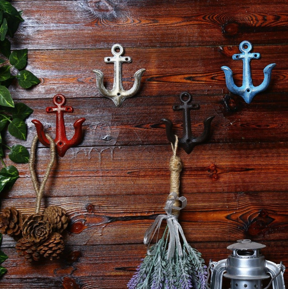 2 pcs Rustic Decorative Cast Iron Anchor Wall Hook Rustic Wall Art Vintage Wall Decor Metal Hooks girls maxi dresses baby clothes party tutu dress flower girls wedding princess dress kids 4t 5 6 7 8 9 10 11 12 13 15 years old