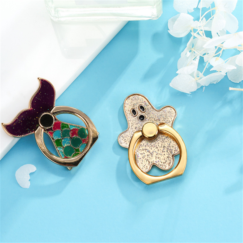 UVR Reuse Metal Finger Ring Starfish Jewelry Smart Phone Mermaid Stand Holder Penguin Mobile Phone Holder Stand For All Phone