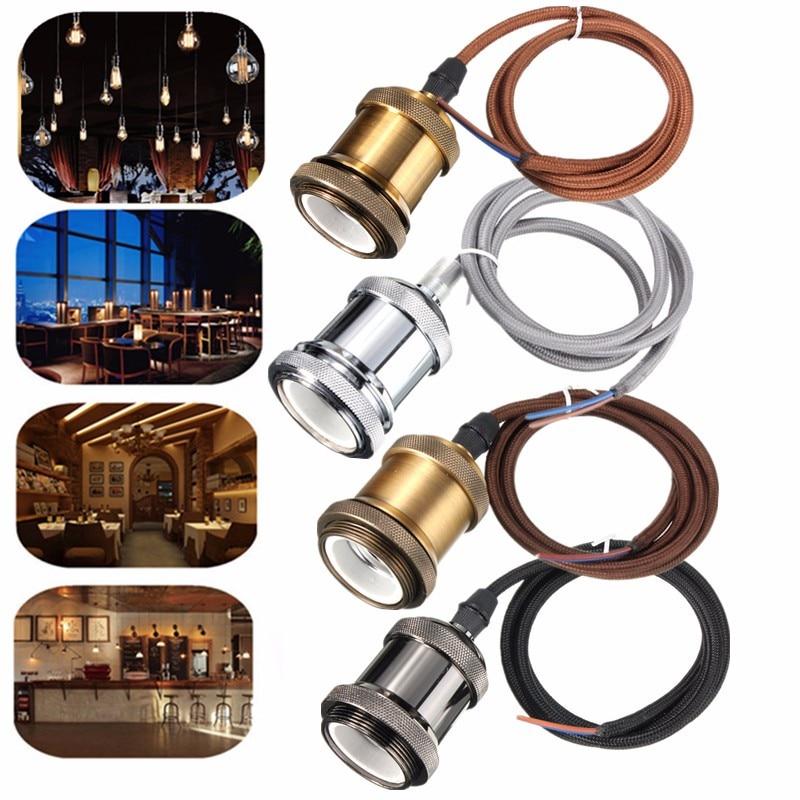 E27/E26 Lamp Base Socket 1M Cord Copper Retro Vintage Ceiling Pendant Light Edison Bulb Lamp Holder 110V-240V
