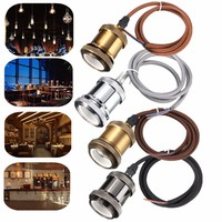 E27 E26 Lamp Base Socket 1M Cord Copper Retro Vintage Ceiling Pendant Light Edison Bulb Lamp