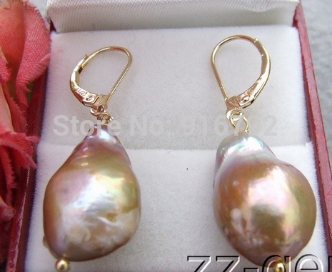 Wholesale >>>> 20mm Purple Nucleated Pearl Earrings-925 Golden Lever Back