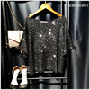 New Women Sequin Knit Shirts Shiny Half Sleeve Tees Slash Neck Lurex Fashion Pullovers Women S