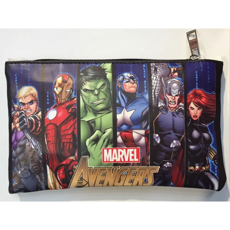Marvel Avengers Hero Pen Bags Wallets Anime Captain America Hulk Thor Iron-man Pencil Purse Leather Stationery Zipper Wallet dc marvel comics wallets cartoon anime iron man spiderman captain america hulk creative gift purse kids folder short wallet