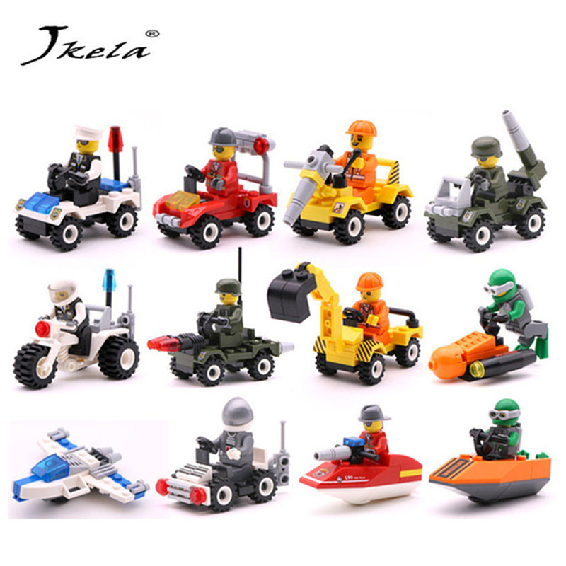 [Jkela] 12 Kinds Original Mini Transportation Block Car Building Compatible legoeINGlys Duplo City Soliders Police Bricks