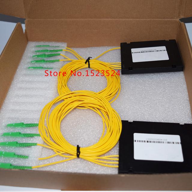 O envio gratuito de 2 pçs/lote GPON EPON 2.0 mm 1 x 4 caixa ABS PLC Splitter módulo 1 * 4 SC / APC fibra óptica PLC Splitter