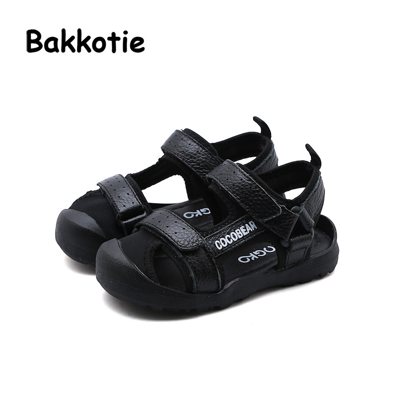 Bakkotie 2018 Summer Spring New Baby Boy Fashion Beach Soft Sandal Child Genuine Leather Black Flat Girl Brand Casual Shoe Kid bakkotie 2017 new autumn baby boy casual shoes khaki genuine leather black kid girl brand flat shoes soft sole breathable child