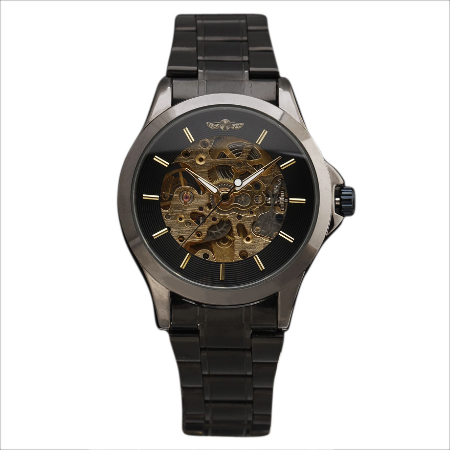 2016 WINNER Luxury Men Full Black Steel Watch Steel Case Hollow Dial Bare Movement Mens Automatic