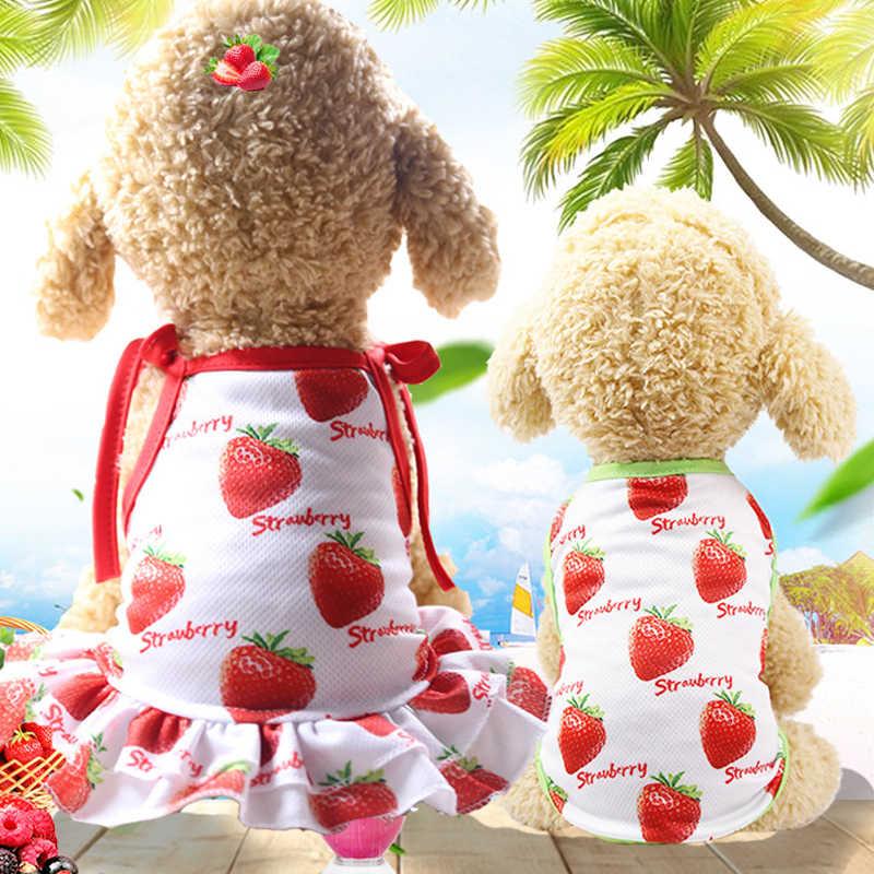 Собака платье из дышащего материала с принтом «фрукты» Мишка, собака, кошка, одежда для детей юбка с кошкой футболка пара Стиль платье с изображением собаки 3 цвета XS-XXL