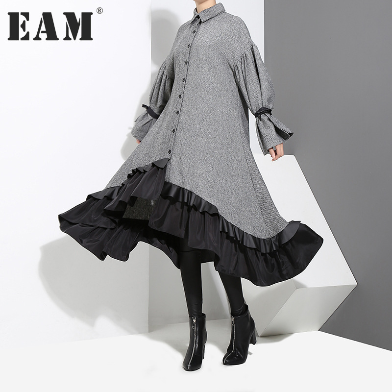 EAM 2018 New Spring Lapel Long Sleeve Bandage Solid Color Gray Big Hem Irregular Loose