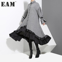 EAM 2018 New Spring Lapel Long Sleeve Bandage Solid Color Gray Big Hem Irregular Loose
