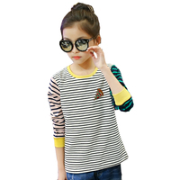 Children T-Shirts For Girls Clothing Cotton Striped T-Shirts Girls Tops Spring & Autumn Bottoming Shirts Girls Tees 3 5 7 9 11Y