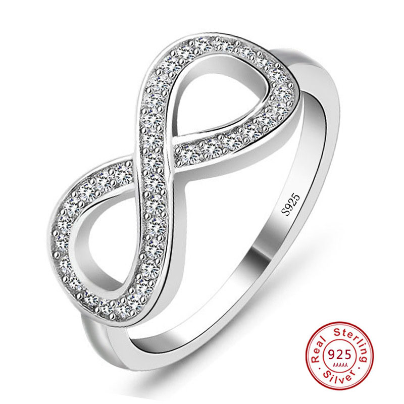 2019 Best Friend Gift High Quality 925 Sterling Silver Stamp Infinity Ring Endless Love Symbol Fashion Rings For Women Size5-10