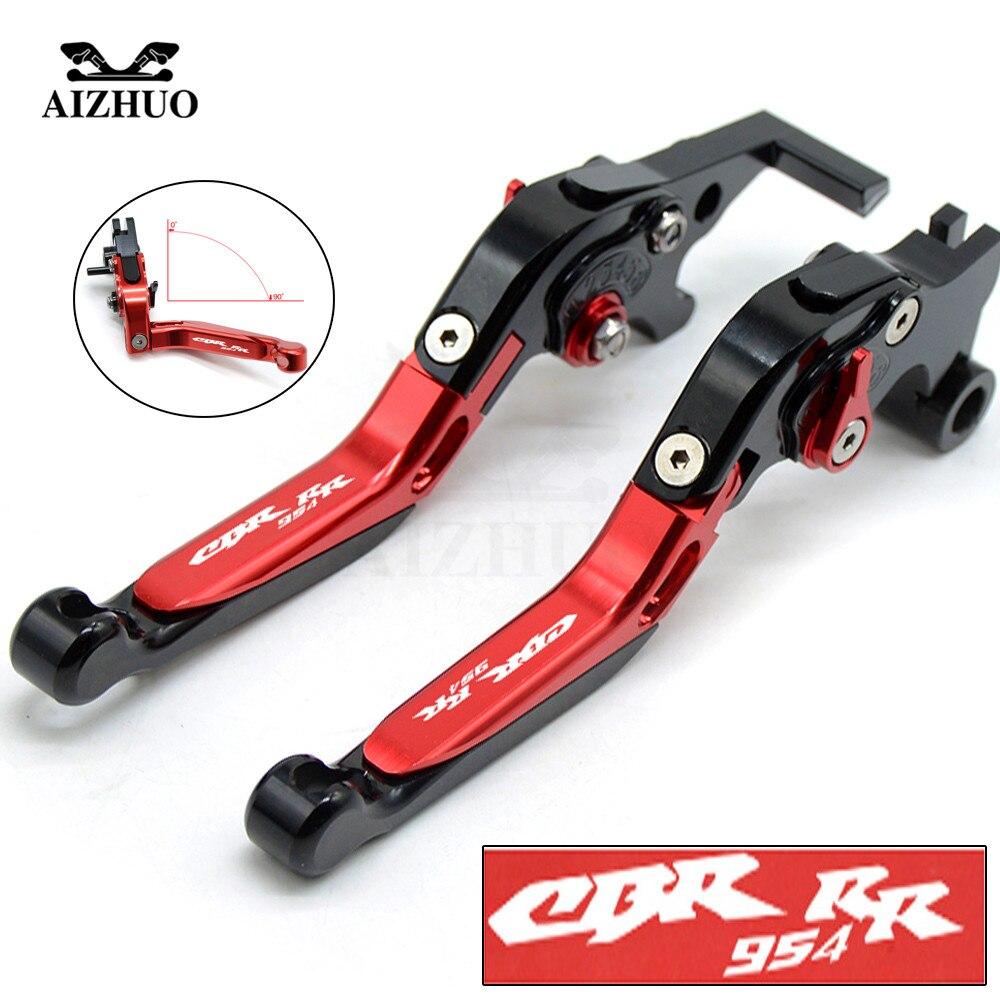 For Honda CBR954RR CBR 954RR 2002 2003 Motorcycle Clutch Brake Lever Extendable Adjustable CNC Aluminum Levers CBR954RR LOGO