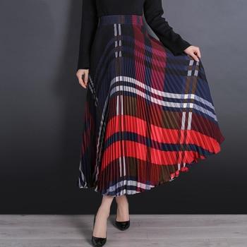 4d096e798 Nueva falda a la moda para mujer a cuadros Faldas largas plisadas para  mujer Falda larga Vintage elegante plisada para mujer