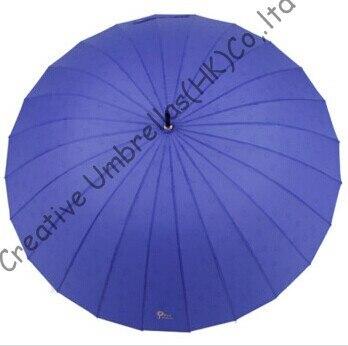 Imperméable, parapluie droit de 24 nervures, parapluies de gradient de couleur, changeant progressivement la couleur, parapluie de logo de l'eau