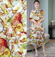 Fabric silk crepe 16 muminki tissu couture telas infantiles tela patchwork lote tecidos tkanina na metry lemon printed tissu