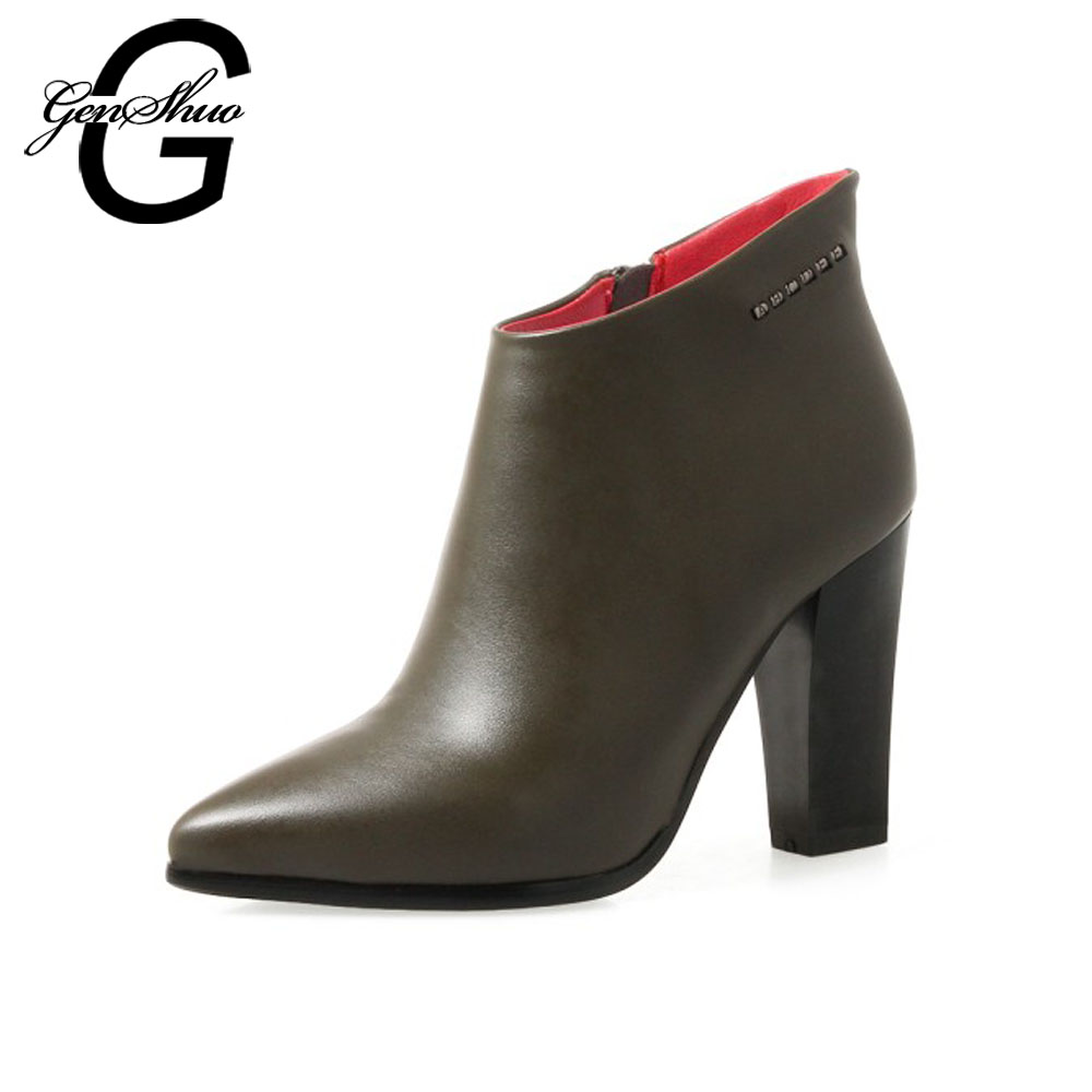 GENSHUO Ankle Boots Women Pumps Army Green Winter Boots For Women Short Plush Square Heel Zip Pointed Toe Women High Heels Shoes цена