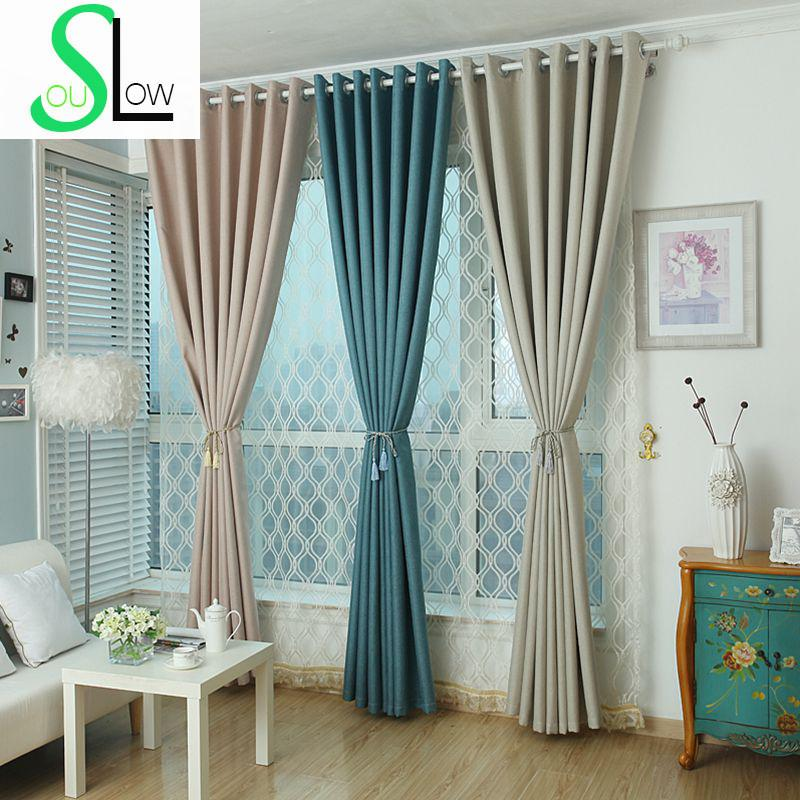 Slow Soul Violet Coffee Grey Beige Lake Blue Linen Blackout Curtains Drapes  Solid Thickness For Living Room Kitchen Bedroom