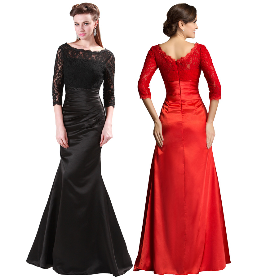 Black Red Long Sleeve Evening Dress Robe De Soiree Lace