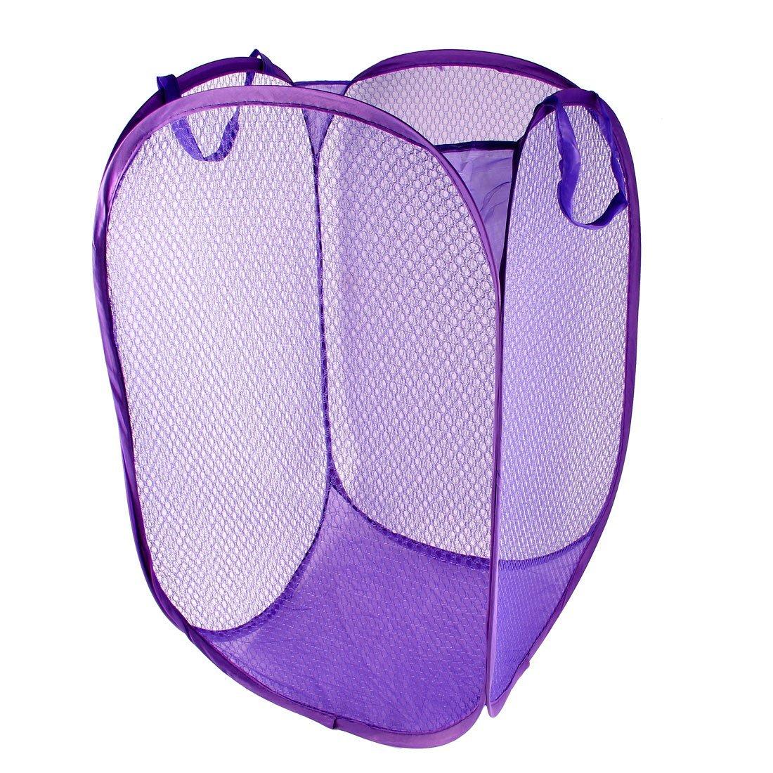 Laundry Bag Basket Pop Up Hamper Foldable Clothes Storage Bin Purple