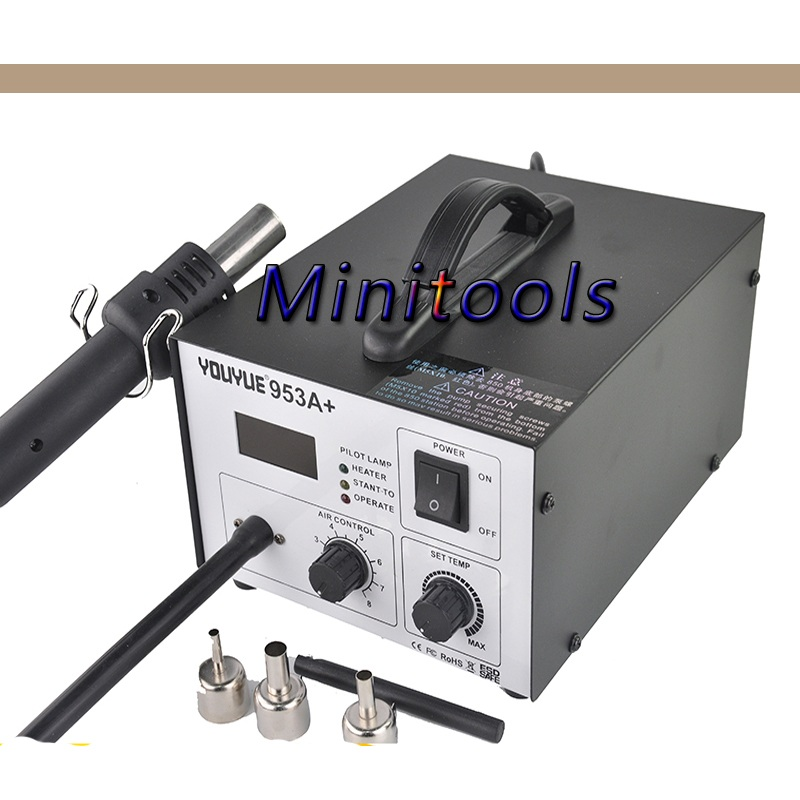 YOUYUE 953A+ ESD Soldering Station LED Digital Desoldering Station BGA Rework Solder Station Hot Air Gun 220v 868d esd soldering station hot air rework station led digital bga rework solderiron desoldering station hot air gun