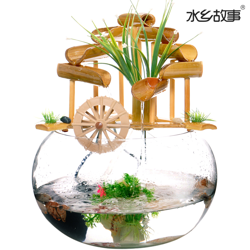 Bamboo Water Fountain Story Glass Crafts Creative Living Room Feng Shui Fish Tank Water Wheel