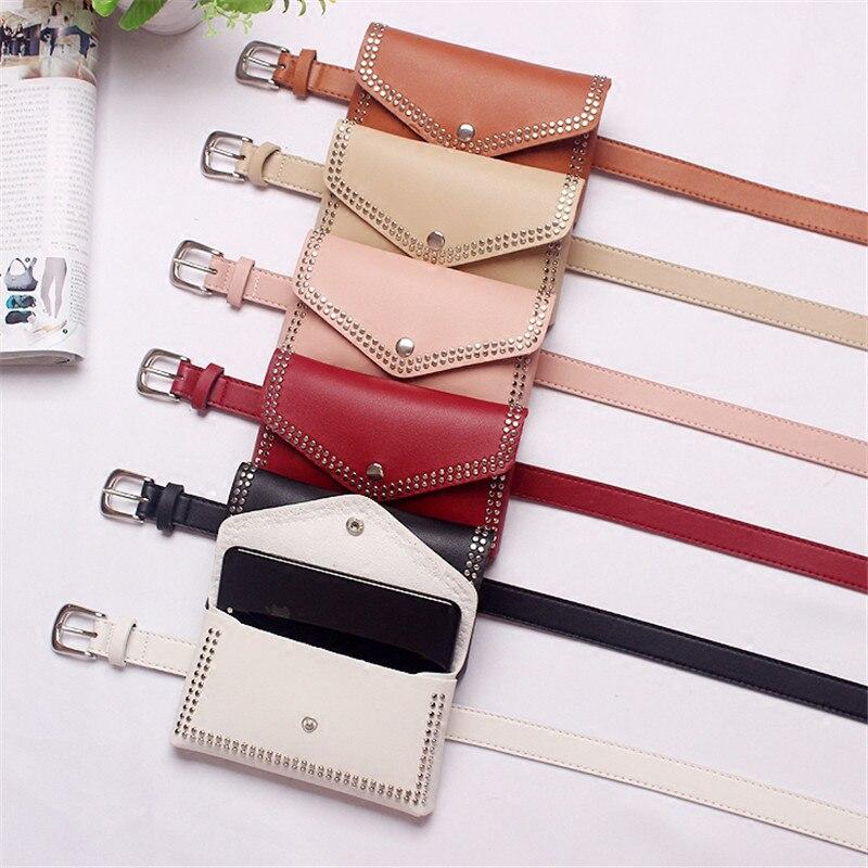HATCYGGO Fashion Women Leather Waist Pack Women Leather Belt Bag Waist Strap Fanny Bag Lady 39 s Rivet Belt Female Jeans Wholesale in Women 39 s Belts from Apparel Accessories