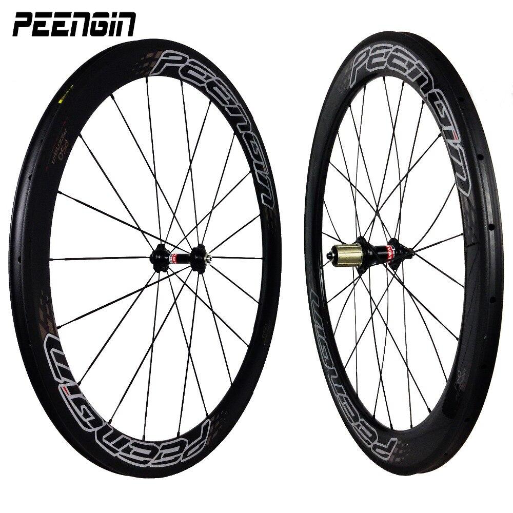 New carbon wheelset peengin stickers 50mm 60mm road bike racing 25mm wide U shape tubular 20/24 holes DIY carbon clincher wheels
