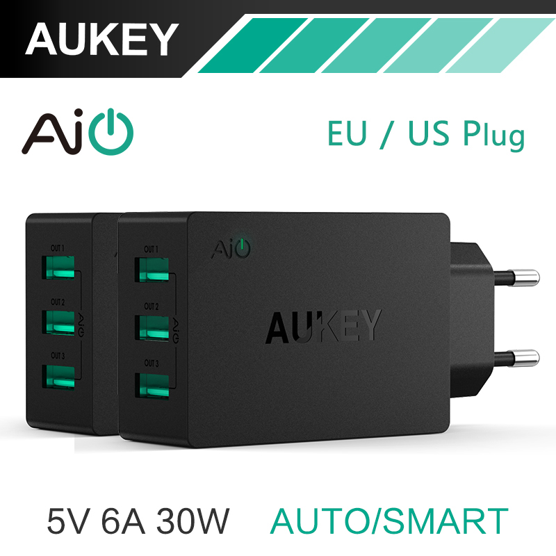 AUKEY 5V6A Universal Travel USB Charger Adapter EU US Plug Wall Mobile Phone Smart Charger for Samsung Galaxy s8 iPhone Xiaomi