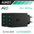 AUKEY 5V6A Universal Travel USB Charger Adapter EU US Plug Wall Mobile Phone Smart Charger for iPhone Tablet Xiaomi Red HTC SONY