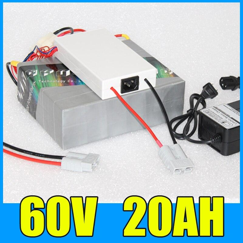 60 볼트 20AH 리튬 배터리 팩, 67.2 볼트 1000 와트 전기 자전거 스쿠터 태양 에너지 배터리, 무료 BMS 충전기 배송