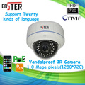 "1.0 MP Vandalproof Metal IR Dome POE IP Camera  1/4"" OV CMOS sensor P2P Security Monitor Camera System"