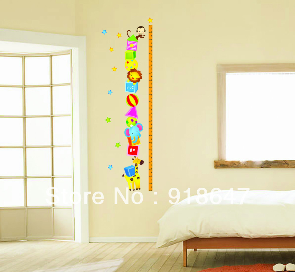 Wholesale Wall Decal New 65 185cm Cartoon Height Chart Wall Stickers ...
