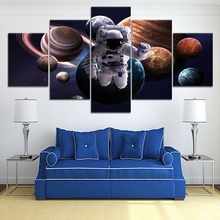 5 Panel HD Print Large Astronaut Solar System planet Poster Cuadros Paintings on Canvas Wall Art for Home Decorations Decor