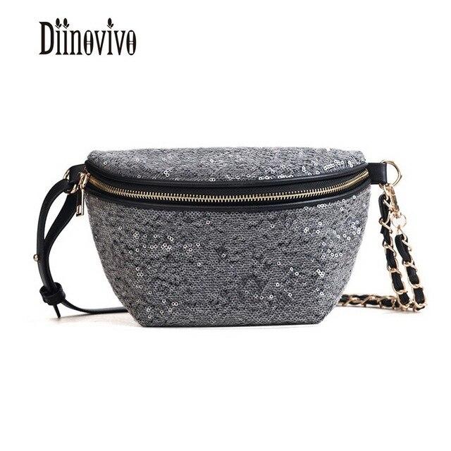 DIINOVIVO Multifunction Sequins Vintage Belt Bags 2018 Shoulder Bag For Women New Hot Sale Funny Packs High Quality Bags DNV0490