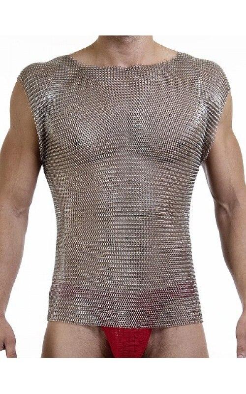 Cadena de correo de acero inoxidable body armor camiseta shinny Acero inoxidable chaleco cuerpo armadura cadena correo aromr anti corte camisa de acero chaleco