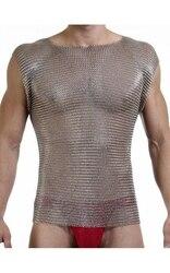 T-shirt armure corporelle en acier inoxydable   Chaîne mail, gilet en acier inoxydable brillant, chaîne d'armure corporelle, chaîne aromr gilet en acier coupé