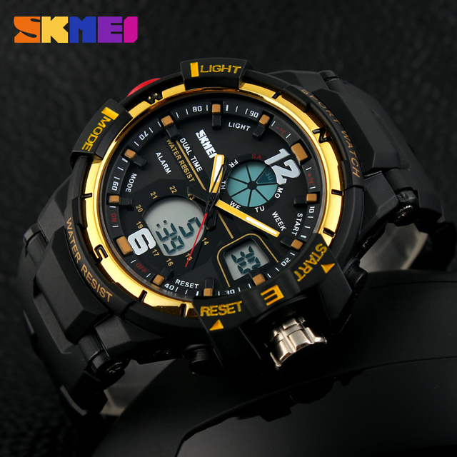 SKMEI мужская СВЕТОДИОДНЫЙ Цифровой Кварцевые Часы Мужские Спортивные Часы Мода Марка Ударопрочные Relojes Открытый Военный Наручные Часы