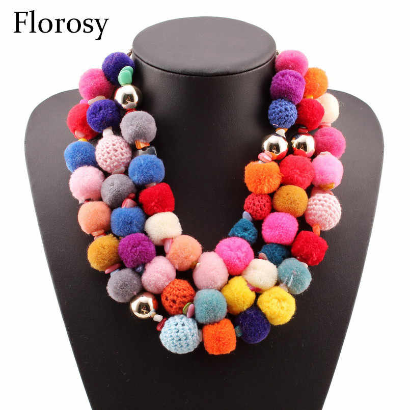 Florosy Festival Handmade Chunky Statement Necklace For Women Design Colorful Pom Pom Cotton Bead Ball Gold Chain Necklace New