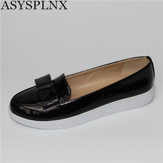 ASYSPLNX verano de las mujeres del otoño negro blanco de la astilla del dedo del pie redondo Mocasines zapatos mujer moda mujeres zapatos planos de las señoras sexy bowtie zapatos