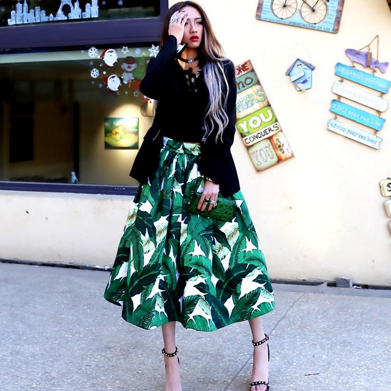 Rock Mode Print Ballkleid Frauen Fr Blatt SqzpMGUV